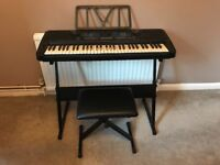 Piano Keyboard with Stand and Stool