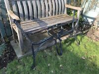 Pair of ornate, black, cast iron bench ends