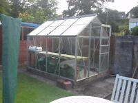 For Sale 8ft x 6ft Aluminium green house complete with potting bench.