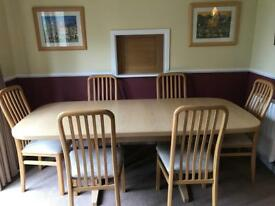 Solid Oak G plan dinning table and 6 chairs