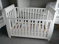 Babymore Eva White Sleigh Cot Cotbed Baby Elegance Pocket Spring Coolmax Mattress