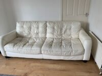 2 x 4 seater white leather sofas