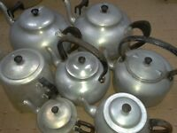 7 x Old canteen teapots Kitchenalia film props In very good condition