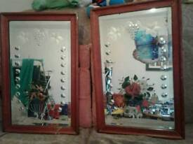 2 old hand painted mirror's in frames