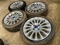"""16"""" 4x108 Ford Fiesta Alloy Wheels Alloys With Tyres Titanium Zetec S Mk 6 7"""
