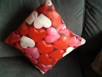 LOVEHEART CUSHION RED ,PINK AND WHITE SIZE 40X40CMS APPROX