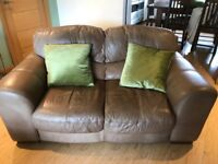 Real Leather 3 & 2 Sofas with matching footstool