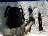 Canon 1300D with 64gb sd card tripod and bag