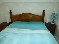 King Size double bed with mattress and 2 bedside cabinets