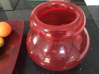Large vase and fruit bow