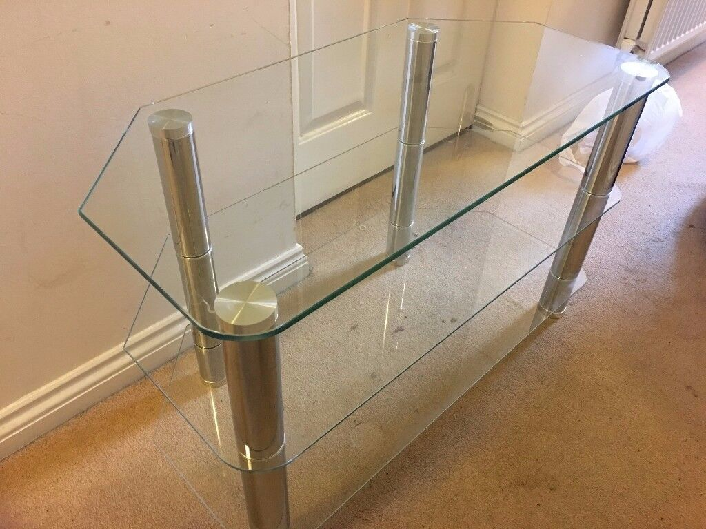 Clear Glass TV Table Excellent Condition