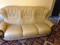Three piece leather cream very good condition