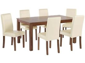 NEXT dark wood table and 6 chairs