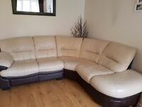 Cream and brown leather corner sofa