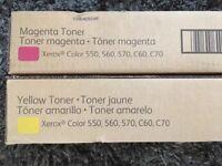 Xerox toner cartridge in yellow and one in magenta