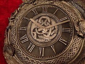 Gothic Metallic silver dragon clock with roman numerals for sale