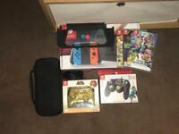 Nintendo Switch Bundle (3 Games, 2 Wired Controllers, 1 Case, 1 Protector)