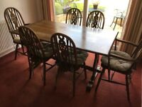Old Charm Oak Refectory Table and 6 chairs