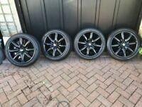 "Mini Cooper 17"" 8 Spoke Alloy Wheels in Gloss Black - AS NEW!"