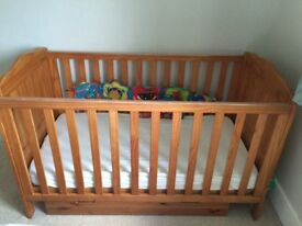Mothercare cot bed antique pine with undercot storage drawer