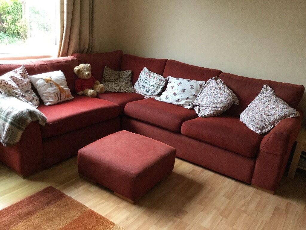 Dark Red Corner Sofa And Footstool