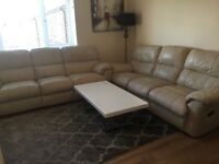 Leather sofas reclining 3 seater x2