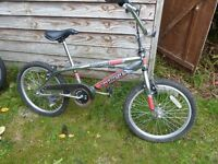 "BMX bike with chrome frame, 20"" wheels"