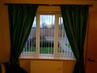 Teal curtains & tie backs
