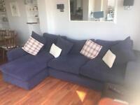John Lewis Large Blue Corner Sofa