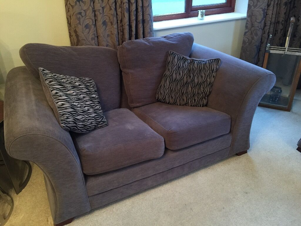 Furniture Village Bristol furniture village 3 piece suite - cost £2,800 grey/purple fabric