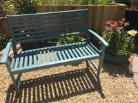 Garden bench solid teak painted in ronseal sea grass