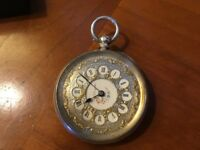 Late 19th century Silver Fob Watch. Swiss 935 silver marks. Cylinder movement.