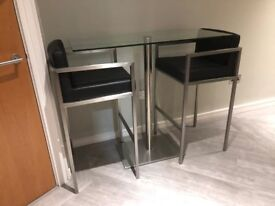 Clear Glass Table and 2 Chairs