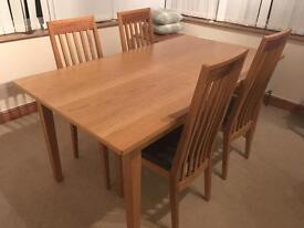 M&S Oak dining table and chairs