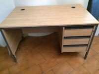 Oak Straight Office Desk with Fixed Pedestal