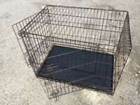 2 DOG CRATES for sale 1 brown 1 silver