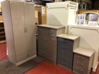 New High gloss grey or oyster 3 drawer bedside £49