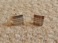 Square and Rectangle Patterned Metal Cufflinks Mens Accessories