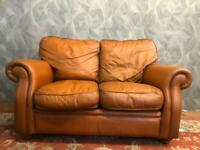 VICTORIAN STYLE VINTAGE CHESTERFIELD REAL LEATHER TAN 2 SEATER SOFA