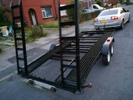 Twin axel car transporter trailer 14ft x 6ft new hitch, manual winch, ramps fully working