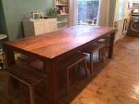 Teak Dining table ( John Lewis ) with 8 bench/stool seating £280