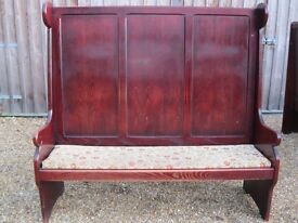 TALL PEW / SETTLE. MONKS BENCH. Another may be available, also church chairs. DELIVERY POSSIBLE.