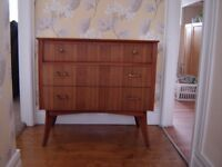 1960's retro walnut chest of drawers { sideboard/tv cabinet? }