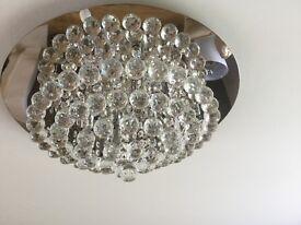 Stunning Polished Chrome & real Crystal balls Ceiling Light