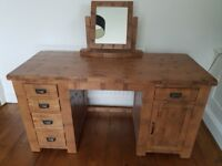 Beautiful solid oak desk/dressing table with mirror