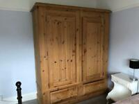 Large solid double pine wardrobe - Excellent condition