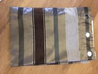 Ring Top Lined Curtains - Brown Stripe