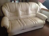 Ivory Leather Suite three piece suite