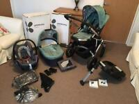 Uppa Baby Vista Travel System with Pram, Buggy, Maxi Cosi Car Seat, Easy Fix Base and Accessories