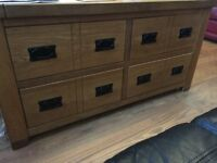Apothecary style multi drawer solid oak coffe table